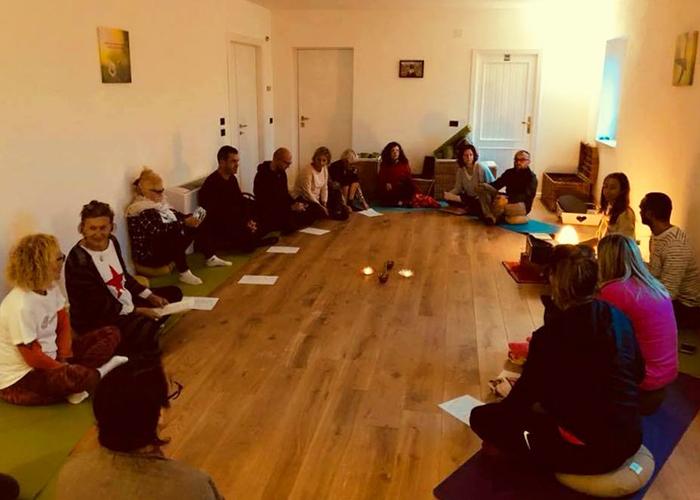 Mantra chanting at Casa Amrita, Yoga B&B, Italy, Abruzzo